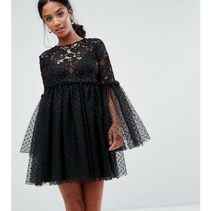 ASOS Lace Mini Dress With Fluted Sleeves - NWT